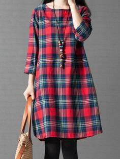 #BerryLook - #berrylook Round Neck Pocket Plaid Shift Dress - AdoreWe.com