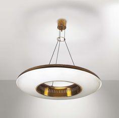 Max Ingrand; #2227 Glass and Brass Ceiling Light for Fontana Arte, c1960.