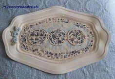 Mosaic Tray Centerpiece handmade mosaic blue white clay roses on Handmade Artists' Shop