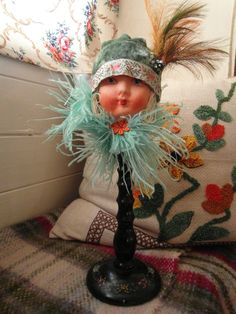 8356045b3c2 Handmade OOAK Flapper Doll Head c1930 s Hat Stand Vintage Textiles and Trims