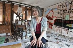 Artist, Rose Wylie pictured in her studio at her home in Kent.