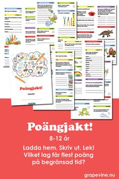 En färdig poängjakt med 50 uppgifter, kunskapsfrågor, gåtor och praktiska utmaningar. Alla ger olika poäng. Vilket lag kan få flest poäng på begränsad tid? Kräver samarbete, arbetsfördelning, strategiskt tänkande - allt under tidspress! Superkul och jätteenkelt att organisera. För få eller många, ute eller inne. Perfekt till barnkalas!  #poängjakt #poängtävling #barnkalas #kalas #kalaslekar
