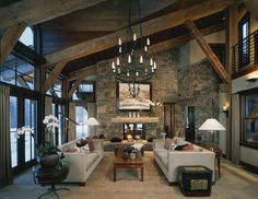 LOVE the warmth of this ranch style living room!
