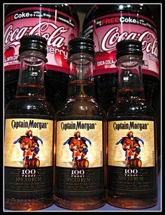 Captain Morgan 100 and Cherry Coke Smoothie Drinks, Smoothies, Captain Morgan, Spiced Rum, Mixed Drinks, Cherries, Coke, Beer Bottle, Coca Cola