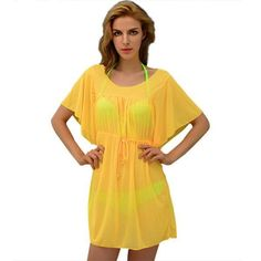 f2f373b084 Bright-Colored Sheer Drawstring Beach Cover Up L-XL 9 Colors – Floessence  Beach