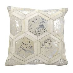 Michael Amini Metallic Hexagon White/Silver Throw Pillow (20-inch x 20-inch) by Nourison