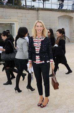 Alexandra Golovanoff lors du défilé Dior à Paris le 1er octobre 2010