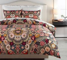 Helena Embroidered Floral Percale Duvet Cover #potterybarn