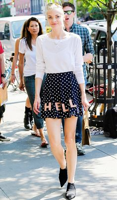"Jaime King looks so adorable in this ""HELL"" skirt"