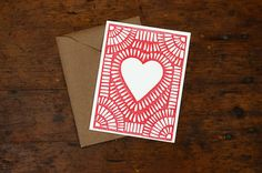 "A set of six block printed cards, printed with a hand-carved linoleum block. The cards are a standard size, or 5 ½"" by 4 ¼"", and are Hippie House, Stamp Printing, Printing Press, Linoprint, Typography Inspiration, Design Inspiration, Tampons, Linocut Prints, Grafik Design"