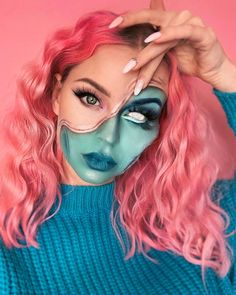 Here for the illusion makeup 👏🎬 @maureennaudts in PINK Didya know we have 3 pink shades? From dark to lightest: - Virgin Pink (vibrant hot pink) - Electric Paradise (UV reactive BRIGHT pink) - Frosé (our purest baby pink!)