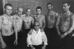 "Danzig Baldaev author of ""Russian Criminal Tattoo vol. 1,2 and 3, surrounded by Russian inmates. - ""This unique archive documents Russian criminals' tattoos and their coded meanings. Included in the collection are more than three thousand tattoo drawings made by Danzig Baldaev during his time as a prison guard between 1948 and 1986."""
