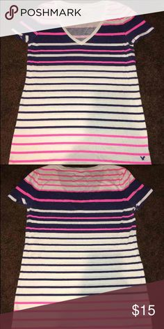 American eagle shirt American eagle striped shirt v neck American Eagle Outfitters Tops Tees - Short Sleeve