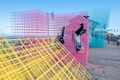 "SPORTS punctuates the city of Santa Barbara with colorful matrix pavilions SPORTS - the design collaboration of Greg Corso and Molly Hunker - has installed ""runaway"" as a vibrant beacon for the sunny Californian city. Santa Barbara Pier, Downtown Santa Barbara, Temporary Architecture, Landscape Architecture, Landscape Design, Corporative Events, Ouvrages D'art, Sport, Public Space Design"
