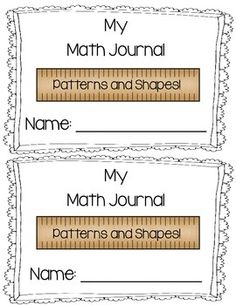 Math Journals- Patterns and Shapes! Starting out math journals in your class? Use these to get you started! Either paste them into a composition notebook, or cut and staple into a mini journal. It can also be used for a math center. At my TpT store $