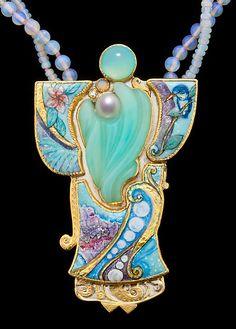Marianne Hunter, Grisaille Enamels w/Foils Carved Peruvian Opal (Sean Davis) Pearl, Diamond, Opal  Metals:    24K•14K•Argentium Silver  Beads:  Opal, Paraiba Tourmaline, 20kt
