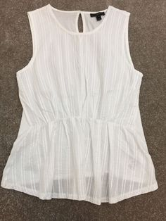 J. Crew Peplum White Sleeveless Blouse Women's Sz S* #JCrew #Peplum
