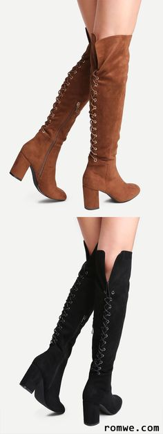 Point Toe Tie Back Knee Boots