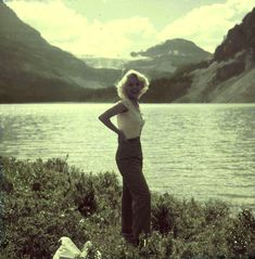 Marilyn Monroe during filming 'River Of No Return'