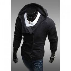 Korean Style Double-Breasted Long Sleeves Polyester Hoodies For Men