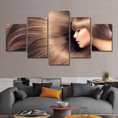 Flowing Hair Multi Panel Canvas Wall Art - Clearance