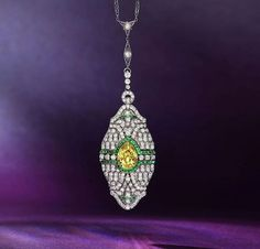 On the subject of it's only money... A rare early 20th century fancy coloured diamond, diamond and emerald pendant necklace,…