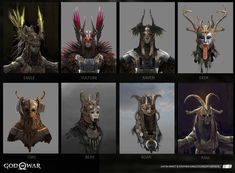 God of War - Stories - Creating the Valkyries - Valkyries Helmets Character Design Challenge, Character Design Cartoon, Character Art, Character Reference, Fantasy World, Dark Fantasy, Fantasy Art, Larp, Angel Protector