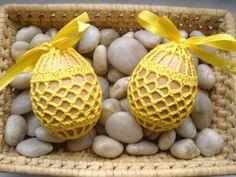 Pisanki Koszulki Szydełkowe Jajka Wielkanoc żółte