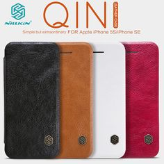 Nillkin vintage Qin flip cover PU Leather Case PC plastic back case For iphone se for iphone 5 case 4'' phone case free shipping