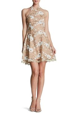 Dress the Population Embroidered Lace Fit & Flare Dress