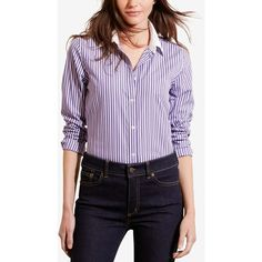 Lauren Ralph Lauren Petite Striped Stretch Shirt ($70) ❤ liked on Polyvore featuring tops, purple, stretch shirt, striped top, wet look top, petite shirts and shirt tops