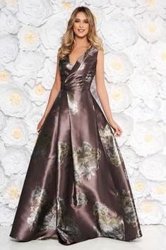 Cumpara Rochie Artista maro de ocazie in clos cu decolteu in v cu imprimeu floral Formal Wear, Formal Dresses, Wedding Dresses, Baptism Dress, Fabric Textures, Dress Cuts, Occasion Dresses, Nasa, Ball Gowns