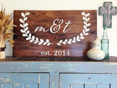 CUSTOM Monogram Initials Sign with Laurel Wreath- Personalized Reclaimed Barn Wood Sign- Wedding Sign-Wall Decor by cellardesigns on Etsy