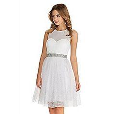White And Silver Chiffon Glitter Prom Dress