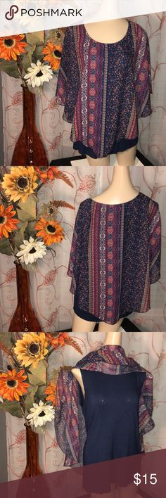 AB Studio Popover Paisley Print Top MEDIUM 💥PRE-LOVED NO FLAWS💥 Size: Medium  Women's Popover Top  Sheer Paisley Print with an attached Navy Blue tank underneath 🌺🌺  PRODUCT FEATURES •Popover design •Paisley print •Crewneck •Short sleeves •Chiffon construction FABRIC & CARE •Polyester •Machine wash AB Studio Tops Blouses