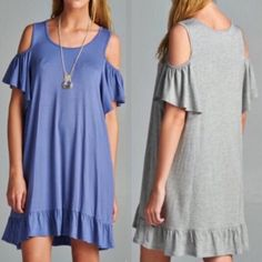 ARIELLA off shoulder ruffle dress- H. GREY Solid, comfortable dress featuring open-shoulder design with ruffled sleeves and bottom hem. Unlined. Non-sheer. Lightweight. 95%RAYON 5%SPANDEX. ️‼️️NO ️TRADE, ️PRICE FIRM‼️ striped Bellanblue Dresses