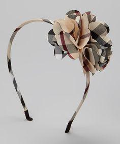 Look what I found on #zulily! Tan Plaid Flower Headband by Sweet Indigo #zulilyfinds