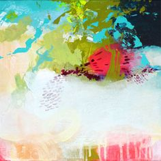 Original abstract painting, acrylic painting, turquoise neon pink green white painting, SLEEPING BEAUTY