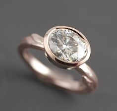 Rose Gold Engagement Ring - Modern Gold Twig Engagement Ring - Rose Gold Branch Ring - Diamond Alternative - Oval Moissanite -Made to Order