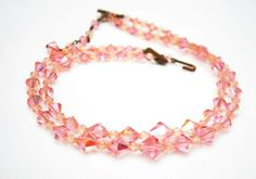 Pink Crystal Necklace  Graduated double strand  cut crystal