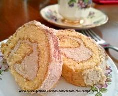 Melania's Cream Roll with Buttercream filling. http://www.quick-german-recipes.com/cream-roll-recipe.html