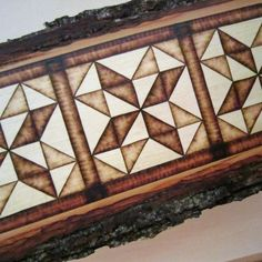 This piece is beautiful! Quilt Pattern Log Cabin Wood Art - Rustic Wall Decor Pyrography