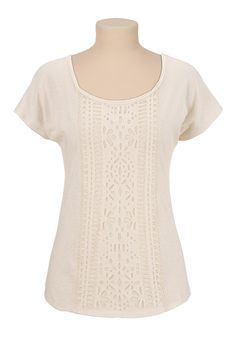 Scoop neck laser cut Tee - maurices.com