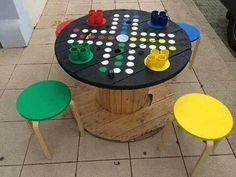 Alte Kabeltrommel wird zu Spieltisch…love this ähnliche tolle Projekte und Id… Old cable reel becomes a gaming table … you will love these similar great projects and ideas as shown in the picture in our magazine. Diy For Kids, Crafts For Kids, Cable Drum, Diy Coffee Table, Coffee Coffee, Wooden Spools, Backyard Games, Giant Outdoor Games, Lawn Games
