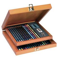 Watercolour Collection Wooden Box containing Watercolour Pencils, Aquatone, Inktense, Watersoluble Sketching Pencils and accessories.