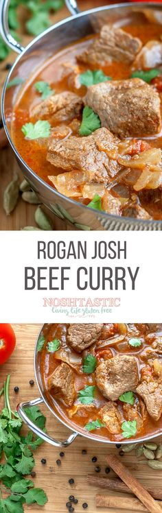 Delicious, easy Beef Rogan Josh Curry made with beef or lamb Healthy Meats, Healthy Meat Recipes, Healthy Eating Habits, Spicy Recipes, Curry Recipes, Pork Recipes, Slow Cooker Recipes, Indian Food Recipes, Cooking Recipes
