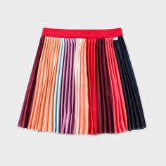 Paul Smith Junior Girls' 7+ Years 'Sunray Stripe' Pleated Skirt With Glittered Waistband