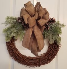 Christmas Wreath, Grapevine Wreath, Winter Wreath, Large brown bow, Pinecones, Frosted Glittery Greenery by GertiesWreaths on Etsy