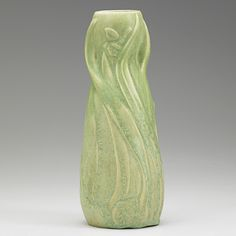 VAN BRIGGLE Early vase with daffodils, matte green glaze, Colorado Springs, 1902 AA/VAN BRIGGLE/1902/III