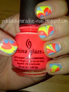 Neon Water Marble! Check it out on Polished Paradise!